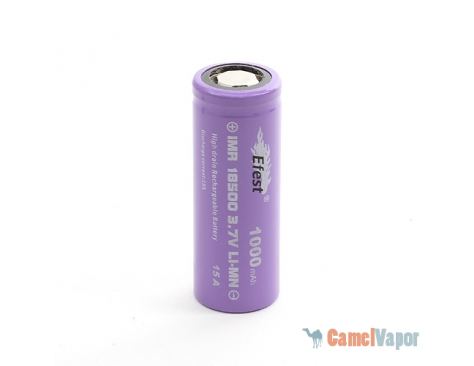 Efest IMR 18500 LiMn 1000mAh Battery - Flat Top - 15 Amp